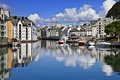 View from a bridge, Alesund old city, Norway Stock Images