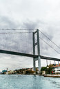 View on bridge in istanbul and bosphorus strait turkey Royalty Free Stock Photo