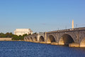 A view on the bridge and Lincoln Memorial from Arlington side during sunset. Royalty Free Stock Photo
