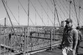 View on bridge manhattan from brooklyn Stock Photography