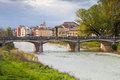 View of bridge through Parma stream, Italy Royalty Free Stock Photo