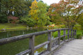 View from the bridge on pond in Japanese Garden Royalty Free Stock Photography