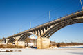 View of bridge winter in frigid river Stock Photo