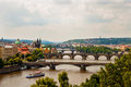 View of bridges in prague on vltava river Stock Image