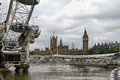 View of the british parliament across the thames from carousel Royalty Free Stock Photography