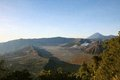 View from the bromo volcano near village of batu on java indonesia Royalty Free Stock Image