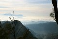 View from the bromo volcano near village of batu on java indonesia Stock Photography