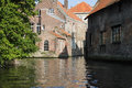 View from the Brugge canal in Belgium Stock Photography