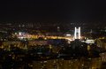 View of bucharest by night with basarab bridge Stock Photo