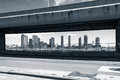View of buildings framed by de fdr drive new york june in new york usa on june Royalty Free Stock Photography