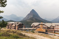 View of Buildings and Mountains at Many Glacier Hotel Royalty Free Stock Photo