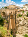 View of buildings over cliff in ronda, spain Royalty Free Stock Photo