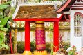 View of the buildings in the temple in Louangphabang, Laos. Close-up. Royalty Free Stock Photo