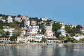 View of Burgazada island from the sea with summer houses and a small mosque, Sea of Marmara, near Istanbul, Turkey Royalty Free Stock Photo