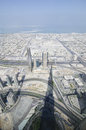 The view from burj khalifa and his shadow united arab emirates Stock Photos