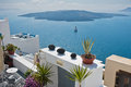 View from Caldera cliff at cruisers and volcanic island, Santorini Royalty Free Stock Photo