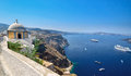 View on caldera of Santorini island volcano, Greece Royalty Free Stock Photo