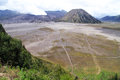 View of caldera with two volcanoes bromo amd botok in indonesia Royalty Free Stock Photos