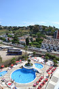 View of calella from the hotel window catalonia spain Royalty Free Stock Photos