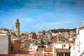 View of the Calella's Church with its tower. Royalty Free Stock Photography