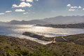 View of Calvi citadel and mountains from Revellata in Corsica Royalty Free Stock Photo