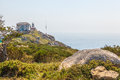 View of cape finisterre la coruna spain the most western point in europe and end the pilgrim route to santiago Royalty Free Stock Image