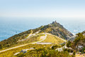 View of cape finisterre la coruna spain the most western point in europe and end the pilgrim route to santiago Stock Photos