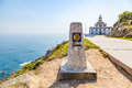 View of cape finisterre la coruna spain the most western point in europe and end the pilgrim route to santiago Stock Image