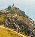 View of cape finisterre la coruna spain the most western point in europe and end the pilgrim route to santiago Stock Photography