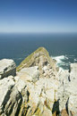 View of Cape Point, Cape of Good Hope, outside Cape Town, South Africa at the confluence of Indian Ocean on right and Atlantic Oce Royalty Free Stock Photo
