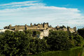 View of carcassonne fortress aerial the base city in aude department france seen form the walled city Stock Photos