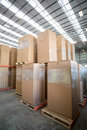 View of cardboard boxes put on pallets Royalty Free Stock Photo