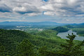 A View of Carvins Cove and Roanoke-Blacksburg Regional Airport Royalty Free Stock Photo