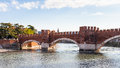 View of Castel Vecchio Bridge in Verona city Royalty Free Stock Photo