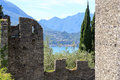 View from Castle Castello di Vezio to Lake Como and mountains, Lombardy Royalty Free Stock Photo