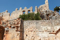 View of Castle in Kalekoy, Kekova. Royalty Free Stock Images