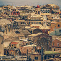 View from castle to corfu town kerkyra in greece vintage coaster Stock Photos