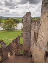 View from castle walls wiltshire england of the countryside the interior of the stunning remains of old wardour on a dramatic Royalty Free Stock Photos