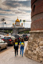 View of the Cathedral of Christ the Savior. City traffic.