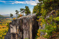 View of cathedral ledge at echo lake state park new hampshire Stock Images