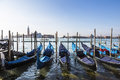 View of the Cathedral of San Giorgio Maggiore, the Venetian lagoon and gondolas from the San Marco Square, Venice Royalty Free Stock Photo
