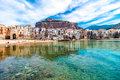 View of cefalu, town on the sea in Sicily, Italy Royalty Free Stock Photo
