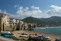 View of the cefalu waterfront sicily italy is a delicious historic and turistic town in palermo s area Royalty Free Stock Images