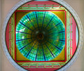 View on ceiling ornament in queen victoria shopping mall sydney bright made of stained colorful glass from below Royalty Free Stock Image