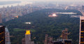 View of Central park with a musical concert in New York City Royalty Free Stock Photo
