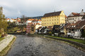 View of cesky krumlov in spring czech republic panorama aerial Royalty Free Stock Images