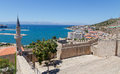 View of cesme from the castle turkey is a coastal town and administrative centre district same name in s westernmost end on a Royalty Free Stock Photos