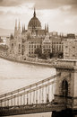 View of chain bridge and hungarian parliament building budapest hungary daytime shot europe eu Royalty Free Stock Photos