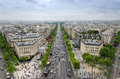 View of the Champs Elysees from the Arc de Triomphe in Paris Royalty Free Stock Photo