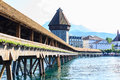 View at the Chapel bridge over Reuss river in Luzern Lucerne. Royalty Free Stock Photo